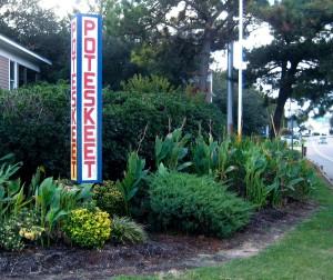 The Poteskeet sign at the entrance to Poteskeet Drive.